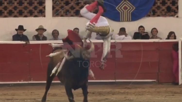 video cogida torero Luis David Adame plaza toros queretaro
