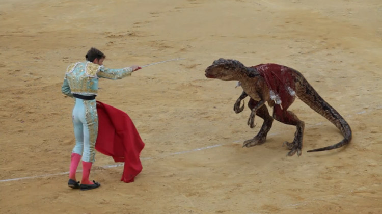 video torero mata dinosaurios