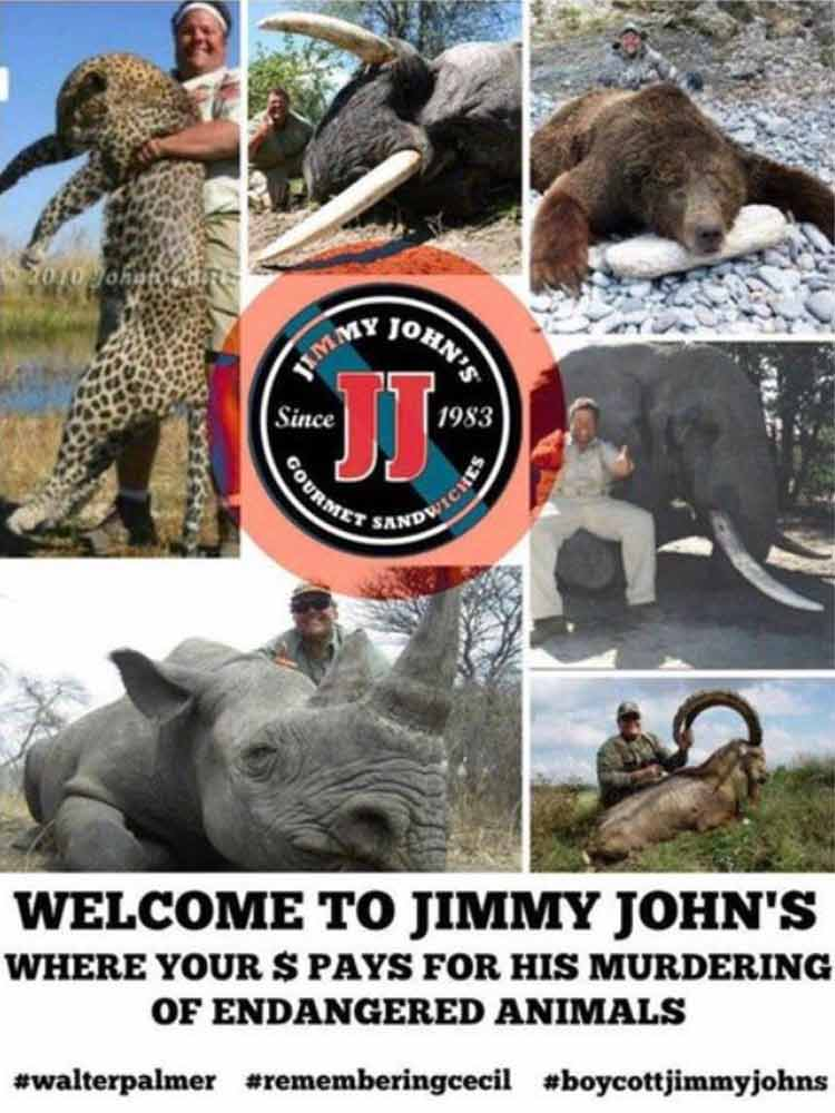 Jimmy Johns Sandwiches caza animales